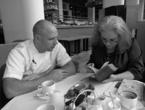 With Michelin Chef Adam Gray doing our food history homework at the Skylon restaurant, London. Chef Gray brought his 1869 copy of Mrs Beeton's Book of Household Management. Image courtesy of the Reel Media Deal.