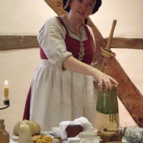 Tudor food historian Emma Shelley, preparing to make butter