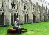 'The Indifferent Sky' (2011) by Sean Henry. Displayed in the Cathedral Cloisters. Bronze, cor-ten steel, all weather paint. 237cm x 120cm x 149cm.