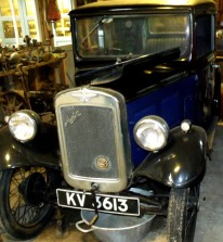 1932 Austin 7 - Box Saloon. Similar to the car that Bonnie and Clyde used in 1934, the Ford Model 18 (730) - V8 Deluxe Sedan. On display at Breamore Countryside Museum, Hampshire.