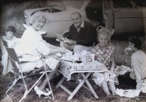 Family picnic on Galleywood Common. 1957. My grandad's pride and joy, the Ford Consul can be seen in the background. My grandma wearing her high heels for the ocassion of a picnic always amuses my aunt.