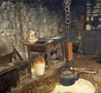 Inside of a 19th century croft house in the Highlands of Scotland. Colbost Folk Museum, Colbost, Isle of Skye.