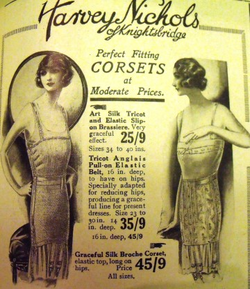 Shapewear advertisement from 1923. Girdles for young ladies were lightly boned with elasticated panels. If you were well-endowed, bandeaus or cupless brassieres were worn to flatten the breasts, this also allowed the dress to hang smoothly from the shoulders.