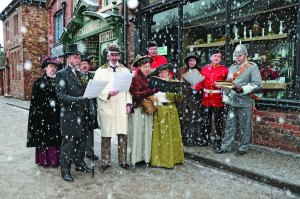 Carol singers at Blists Hill Victorian Town, Telford, Shropshire.