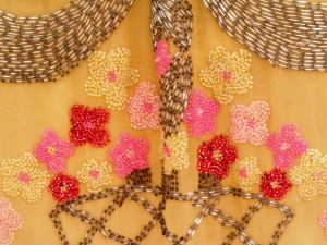 Detail of some of the exquisite beadwork. Dazzle Exhibition. HCC Arts & Museums.