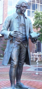 Josiah Wedgwood I. Replica state cast in the 1950s and located outside The Wedgwood Museum. The original sculture was sculpted in bronze in 1860. In 1862 is was displayed at the International Exhibition which attracted six million visitors.  On 24th Feburary 1862 it was erected outside of Stoke-on-Trent railway station and is still there today.