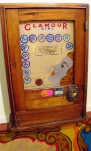 Vintage penny slot machine. Milestones.