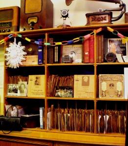 Inside the 1930s gramaphone shop. Milestones.