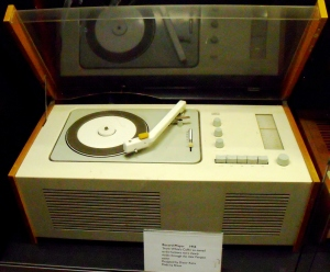 1956 record player in 'You Must Remember This'. This record player was called 'Snow White's Coffin' due to the fact that the functions are clearly visible through the Perspex cover. Designed by Dieter Rams and made by Braun.