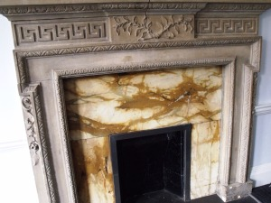 One of two original fireplaces in the former ballroom (now The Jane Austen Suite) at The Dolphin Hotel, Southampton.
