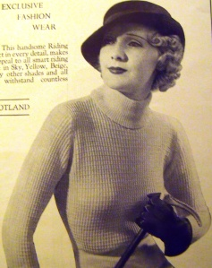 Riding sweater by Hawico, London, 1930s advertisement. 'Makes an irresistible appeal to all smart riding women. Made in sky, yellow, beige, white and guaranteed to withstand countless washings.'