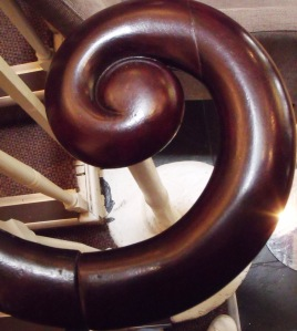 Architectural detail of main staircase at The Dolphin Hotel.