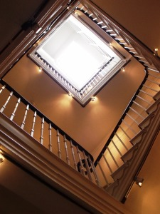 View looking-up at the main staircase at The Dolphin Hotel.
