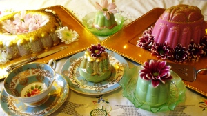 I was recently asked to create a blancmange banquet. Here are examples of some of my blancmanges.
