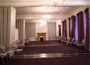 View of the ballroom (2012 - now called the Jane Austen Suite) at The Dolphin Hotel, Southampton, where Jane is said to have danced to celebrate her eighteenth birthday. It has of course been modernised but many of the original Georgian and Regency architectural features still survive.
