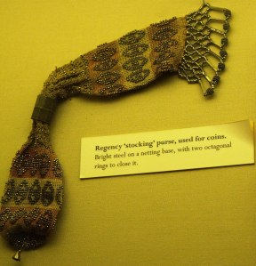 Regency stocking coin purse. On display at Lyme Regis Museum.