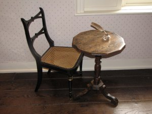 Jane Austen's writing table at her cottage in Chawton, Hampshire. By kind permission of Jane Austen's House Museum.