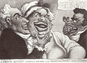 The French dentist, Dubois de Chemant - print by Thomas Rowlandson (1756-1827). The woman has just had fitted de Chemant's double row of mineral paste teeth and gums. They certainly had a sweet tooth in the Regency.