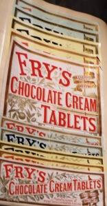 The world's first solid bar of chocolate was produced by Bristol company, J S Fry & Sons in 1847. It was called Chocolat Délicieux à Manger (delicious to eat). The three brothers who were running the company when the chocolate bar was invented were: Francis Fry (1803-1886); Richard Fry (1807-1878) and Joseph Fry (1795-1879). By 1910, Fry's employed 6,000 staff. Exhibit shown are examples of Fry's chocolate labels, on display at MShed Museum, Bristol.