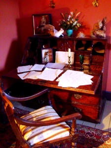 Gilbert White's study at The Wakes. The desk shown may have been the original desk owned by Gilbert.