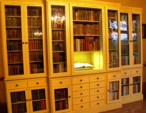 Book cabinet that houses Ronald's collection of editions of Gilbert White's The Natural History of Selborne.