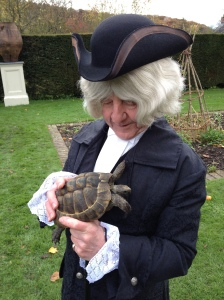 Ronald as Gilbert White with Timothy the tortoise.