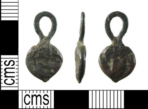 Heart-shaped late medieval bronze heart found in the grounds of Hyde Abbey.©Winchester City Museums.