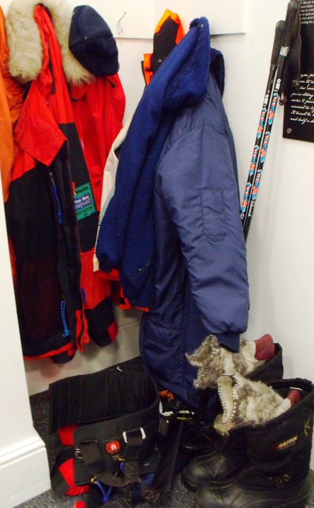 Exhibit showing contemporary polar-exploration clothing. The Oates Gallery.