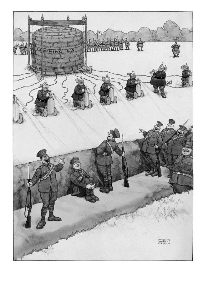 German breaches of the Hague Conention - Huns using siphons of laughing gas to overcome our troops before an attack in close formation. Pen, ink, watercolour and bodycolour. Published in The Sketch, August 1915. © William Heath Robinson Trust. St. Barbe Museum & Art Gallery.