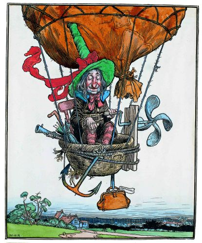'The Aeronaut' by Heath Robinson © William Heath Robinson Trust. St. Barbe Museum & Art Gallery.