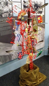 Replica of the home-made tree made by Scott's team to celebrate Midwinter Day (22nd June, 1911). The Oates Gallery.