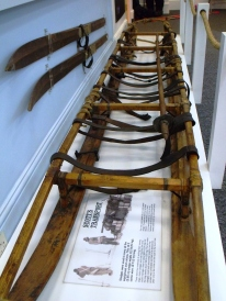 Sledge on display in The Oates Gallery. Fully-loaded a sledge needed 4 men to pull it. Some sledges were 10ft long (3m) others were 12ft long (3.65m) and could weigh 1,121lbs (51kg) when loaded with equipment and rations. Birdie Bowers wrote:'...I have never pulled so hard or so nearly crushed my inside into my backbone by the everlasting jerking on the canvas band round my unfortunate tummy.'