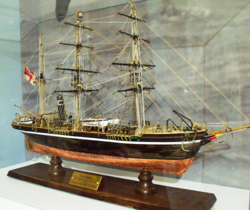 Replica of the Terra Nova (scale 1/8 inch to 1 foot) made by Commander Rupert Head RN, 2011-2012. The Oates Gallery.