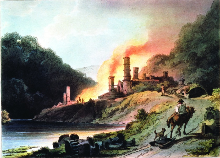 ©Ironbridge Gorge Museum Trust. Iron Works at Coalbrookdale by Philip James De Loutherbourg (1740-1812) from an engraving by William Pickett.