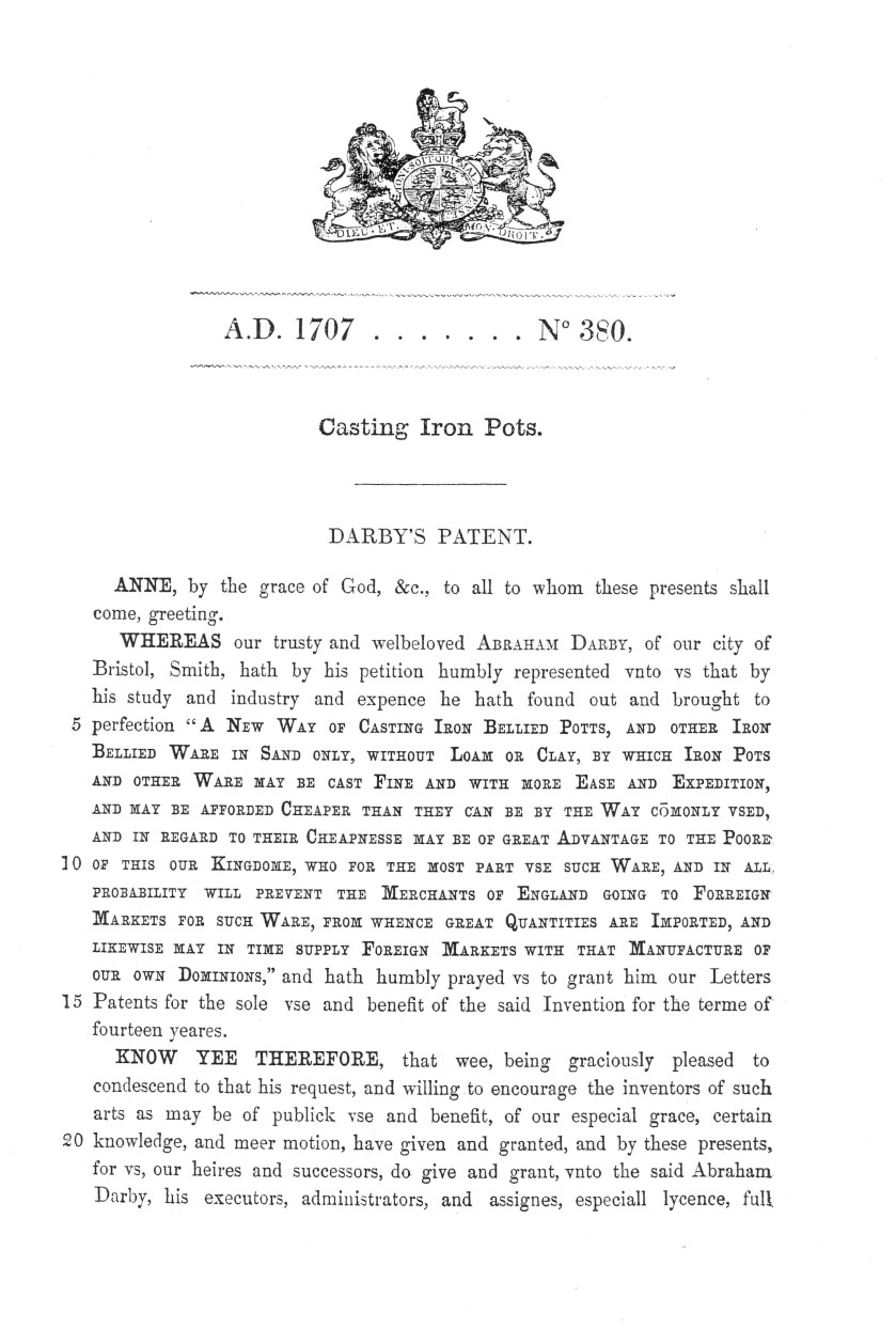 ©Ironbridge Gorge Museum Trust. An extract from Abraham Darby I's original 1707 patent for casting iron bellied pots.