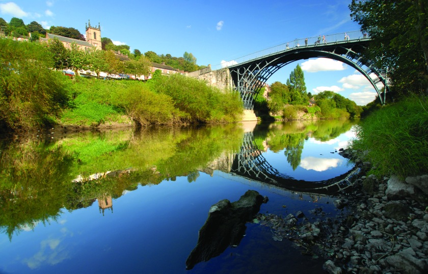 ©Ironbridge Gorge Museum Trust. View of the Iron Bridge over the River Severn.