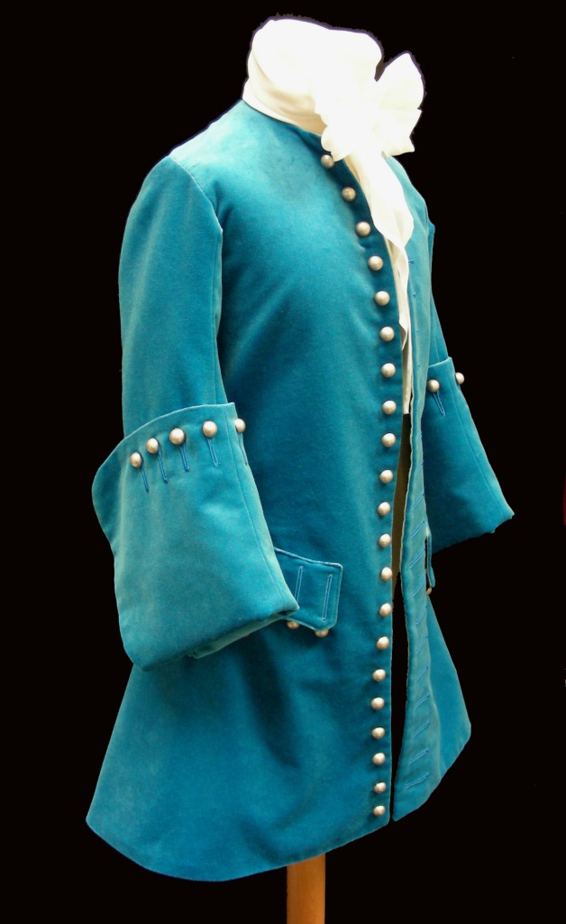 ©Ironbridge Gorge Museum Trust. A 1720s Frock Coat try-on costume made by The Costume Project for Wolverhampton Art Gallery and Museum.