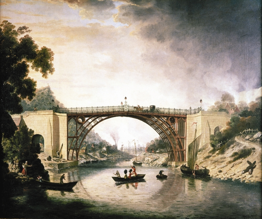 ©Ironbridge Gorge Museum Trust. The Iron Bridge by William Williams (1780). The painting was commissioned by Darby for ten guineas (£10.50). The painting was thought to be lost for over one hundred and fifty years until it appeared in 1992 when the Museum purchased it. It now hangs in the Coalbrookdale Museum of Iron.