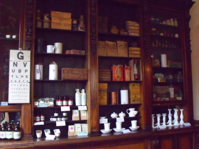 ©Come Step Back in Time. Interior of the Pharmacy at Blists Hill Victorian Town, Shropshire.