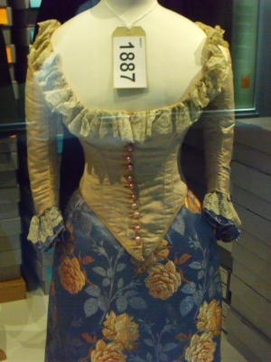 ©Come Step Back in Time. Tiny waists, a fashionable Victorian look. Exhibit from the Fashion Museum, Bath.