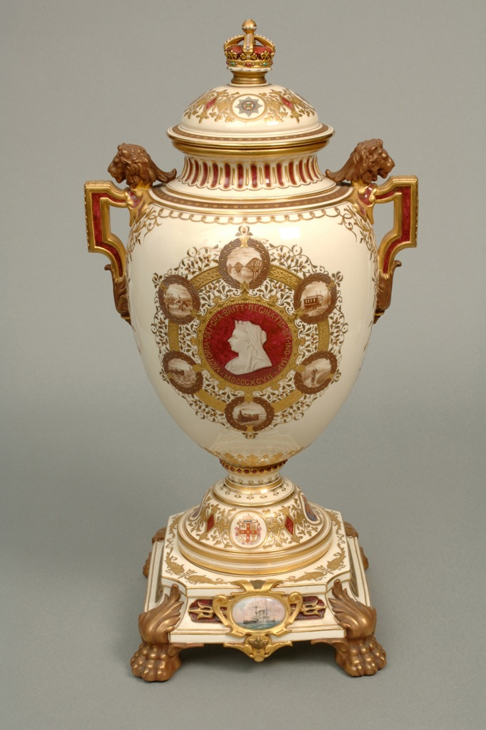 ©Ironbridge Gorge Museum Trust. The Queen Victoria Jubilee Vase by Coalport. Made to commemorate Queen Victoria's Diamond Jubilee in 1897, only 50 were made. The painted scenes represent achievements during Victoria's reign.  Painting is by artist J.H. Plant. On the back of the vase he painted scenes of national life in 1837.