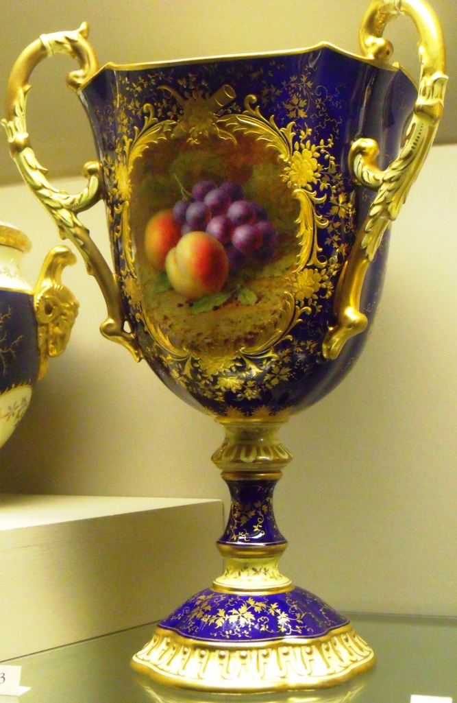 ©Come Step Back in Time. Cobalt blue three-handled vase with fruit painting by Frederick Chivers c.1909-1914.