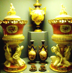 ©Come Step Back in Time. To the right and left of image examples of Coalport's Parian Porcelain. Two icepails c.1850.  Parian is a type of unglazed porcelain with a dense texture and a pure white finish, similar to Greek Parian marble. Coalport stop using this technique in the 1860s.