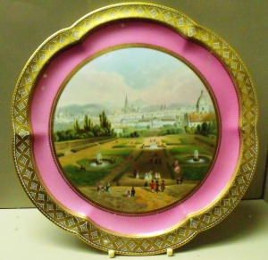 ©Come Step Back in Time. Plate from Coalport's Rose du Barry range, hand-painted Viennese scene. c.1861-1875.
