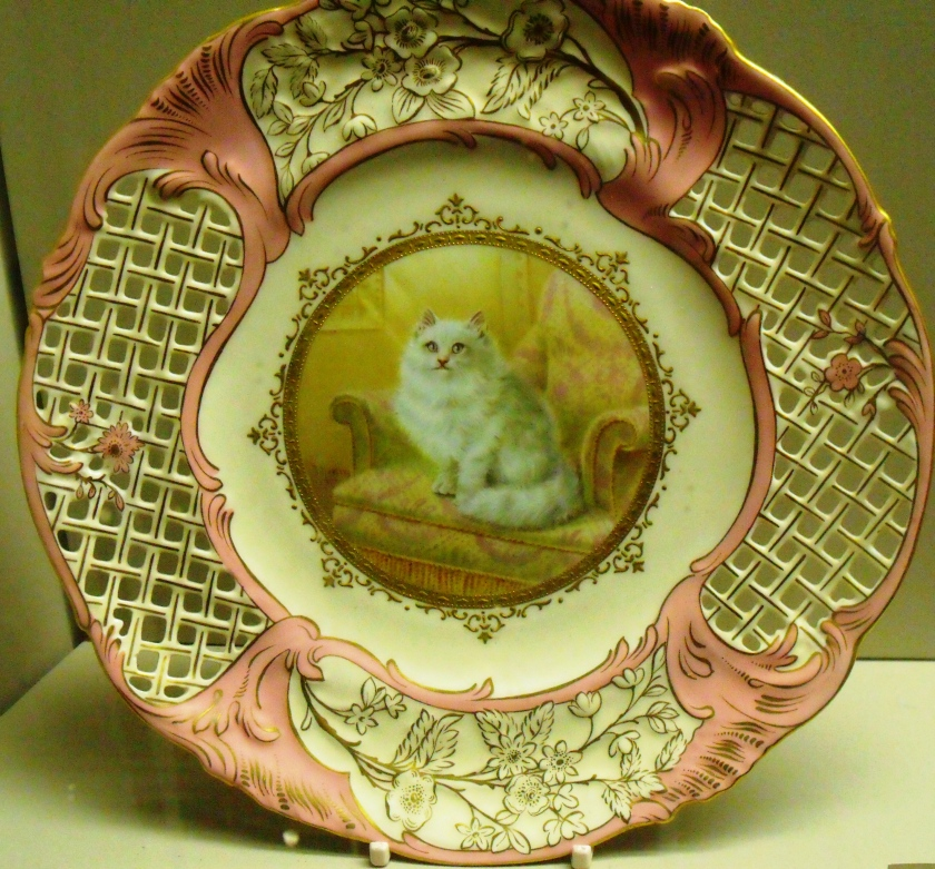 ©Come Step Back in Time. Rose du Barry pink ware by Coalport. Fluffy cat painted by Thomas Keeling c.1910.