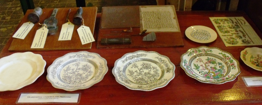 ©Come Step Back in Time. Display showing tools and processes involved in traditional underglaze printing.