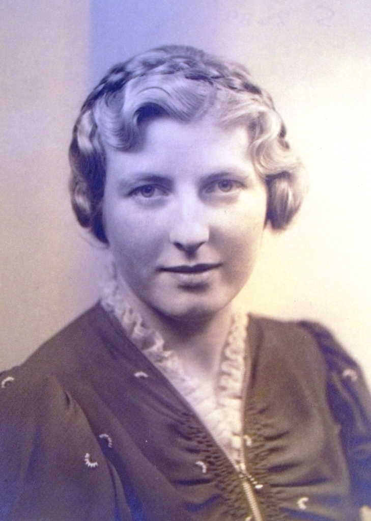 Grandmother favoured a braided hair style with deep 'waves' framing the face.