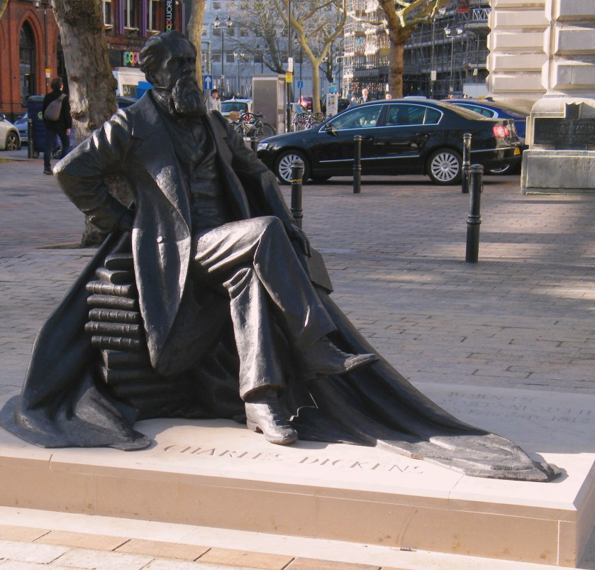 New Charles Dickens statue in Portsmouth's Guildhall Square. Sculptor Martin Jenning's made the bronze. ©Come Step Back in Time.