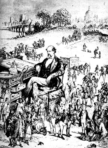 Charles Dickens surrounded by his characters by J. R. Brown. Pen and pencil drawing. 1889-90. Image source: The Victorian Web.