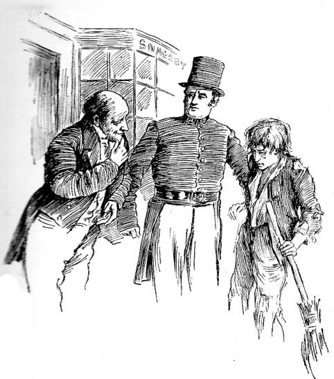 Joe The Crossing-sweep and Mr Snagsby. Photographic reproduction of a line drawing from Dickens' Dream Children, p.221. Image source: The Victorian Web. Scanned image and text by Philip V. Allingham.